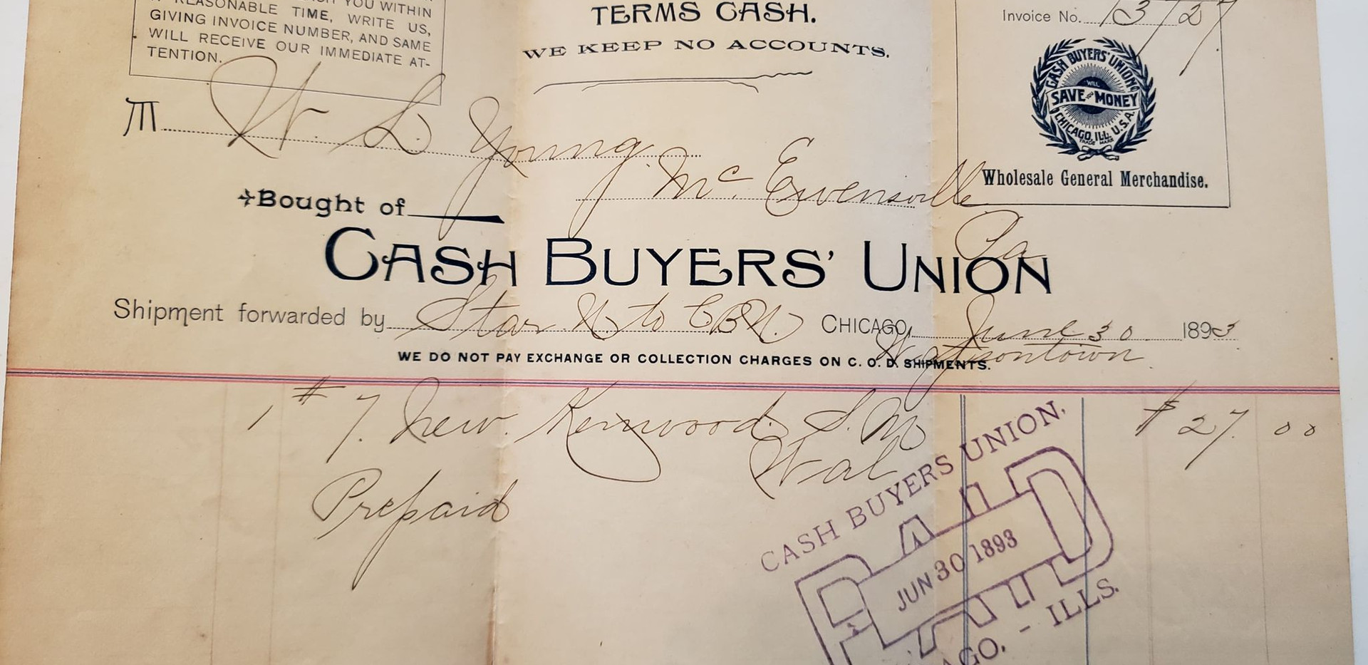 Receipt for antique sewing machine