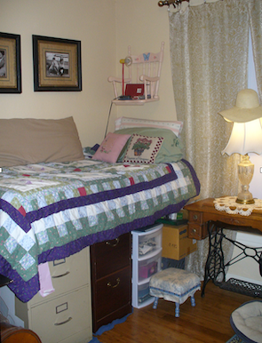 Bed over filing cabinets