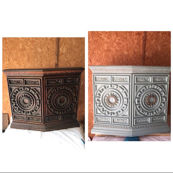 Carved end table