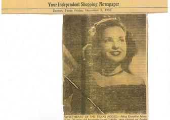 Denton Journal announcing 1950 Aggie Sweetheart