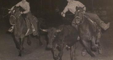 Dan n Karl bulldogging in the early 1970s