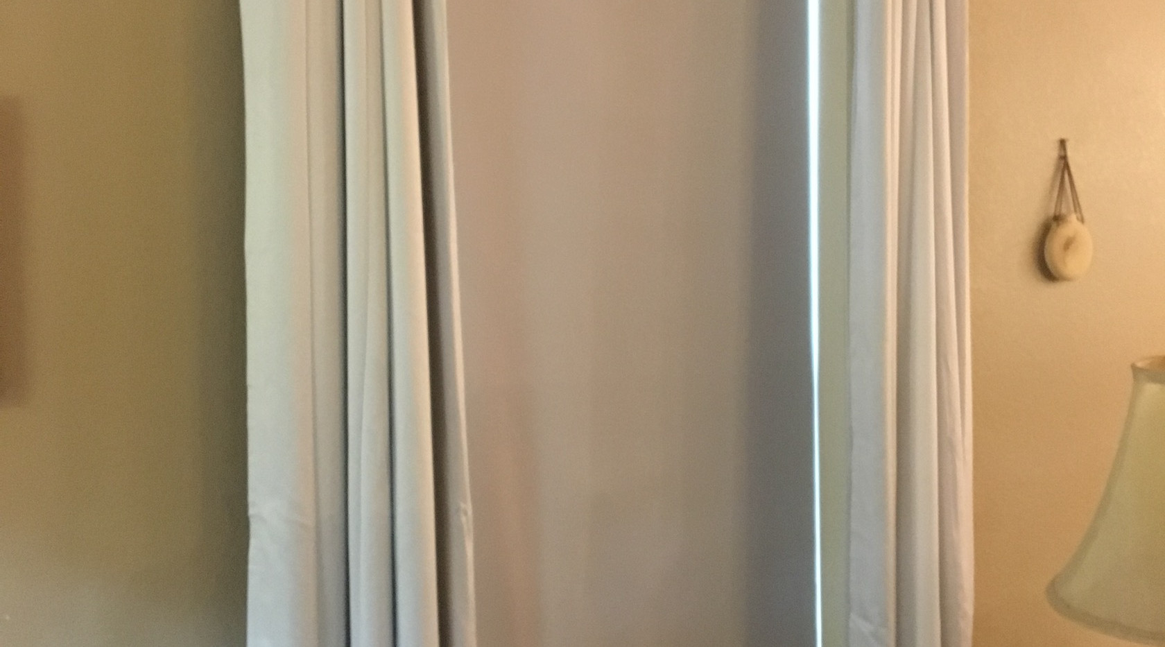 South window open drapes
