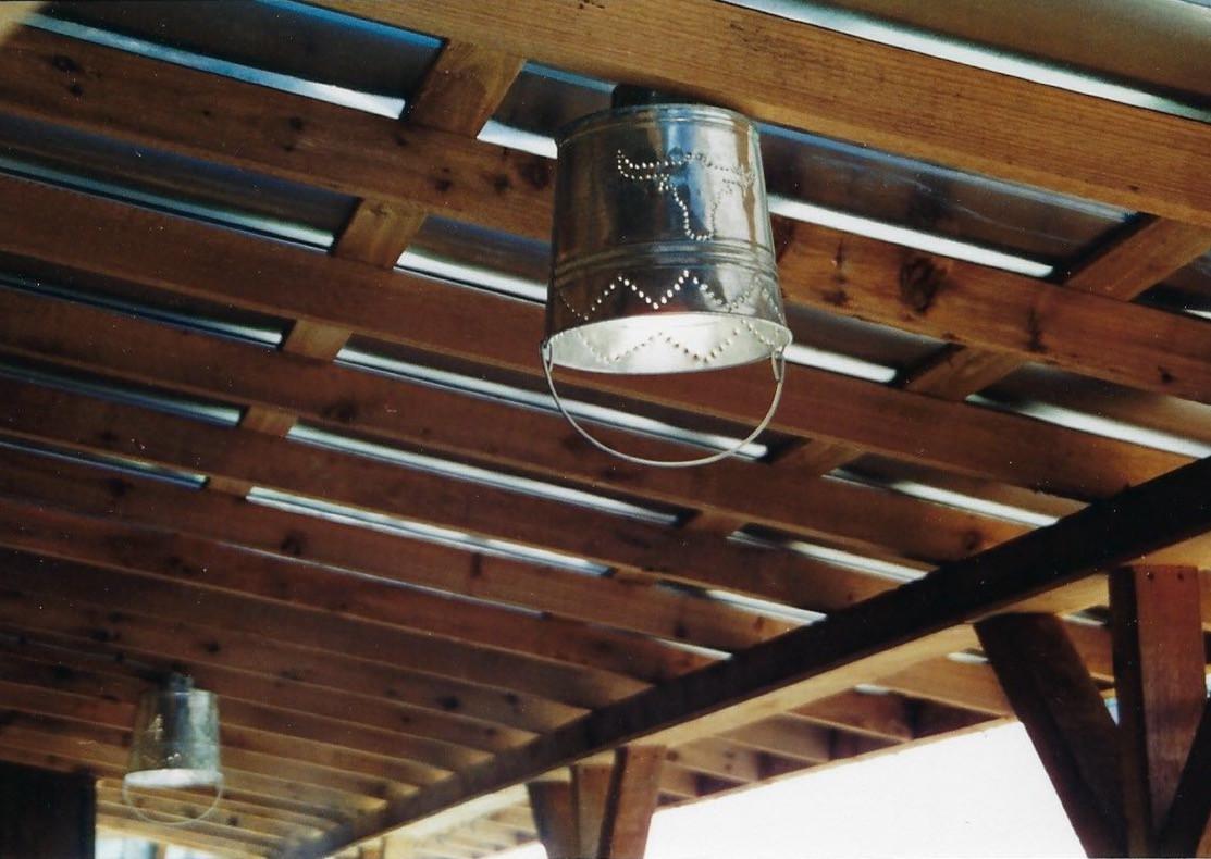 Bucket porch light fixtures