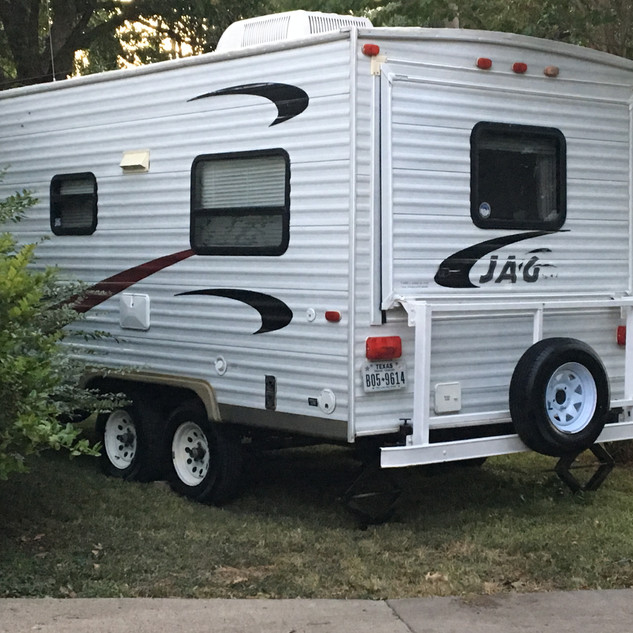 The camper at home