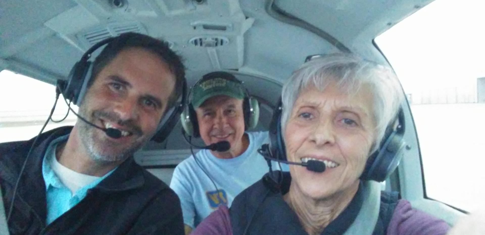 Kathy with hubby Bobby and son Dayton, gyroplane pilot & CFI