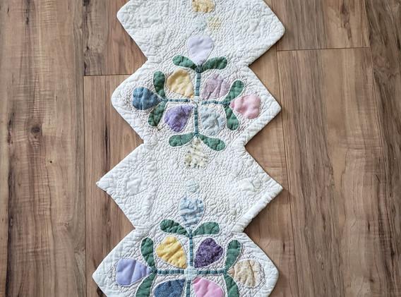 Floral & White Table Runner