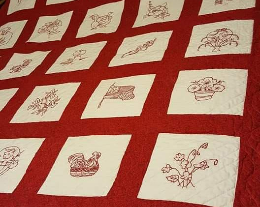 Quilt with Redwork