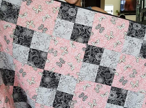 Pink-Gray-Black Butterfly Quilt
