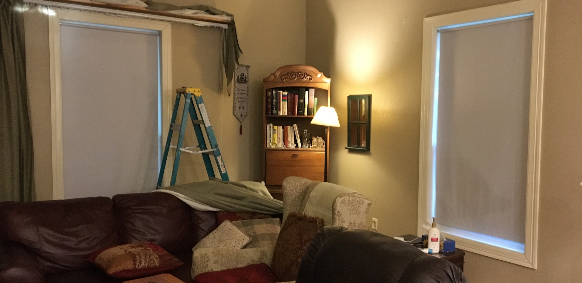 Taking old drapes down