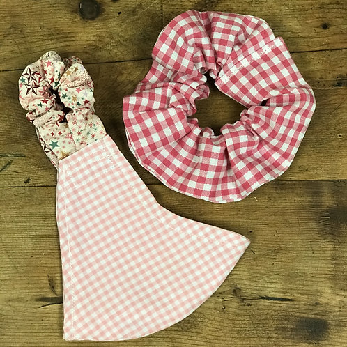 Handmade Mask & Scrunchie in Light Pink Gingham, Starry Sky and Hot Pink Gingham
