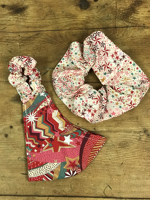 Handmade Mask & Scrunchie in Red Festive and Starry Sky