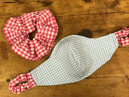 Handmade Mask & Scrunchie in Pale Blue and Hot Pink Gingham