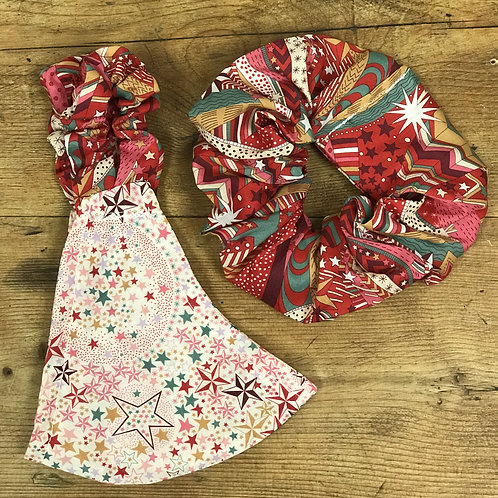 Handmade Mask & Scrunchie in Starry Sky and Red Festive