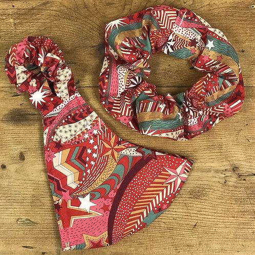 Handmade Mask & Scrunchie in Red Festive