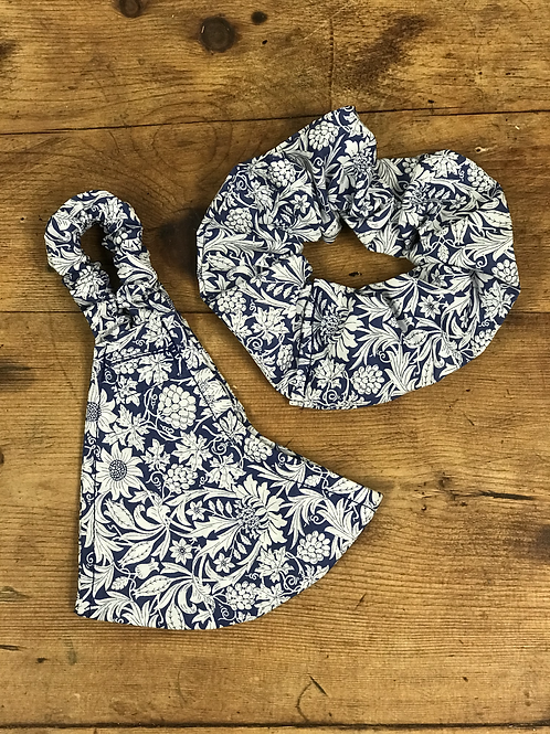 Handmade Mask & Scrunchie in Navy Floral Liberty