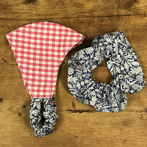 Handmade Mask & Scrunchie in Hot Pink Gingham and Navy Floral Liberty