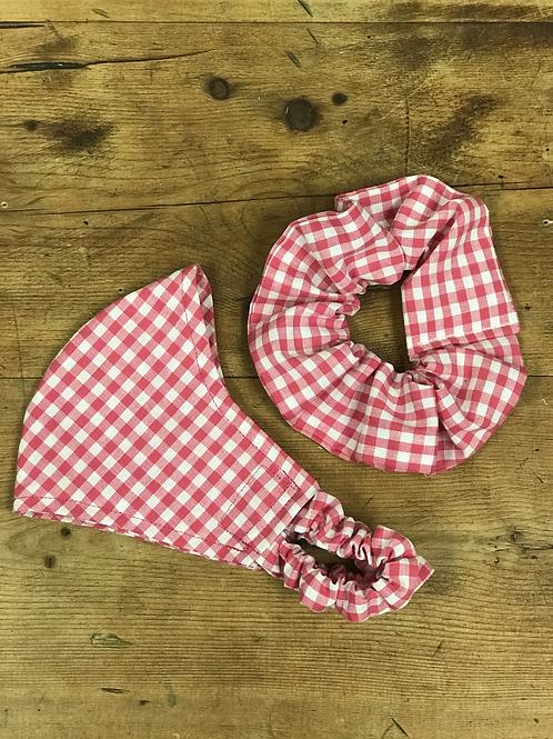 Handmade Mask & Scrunchie in Hot Pink Gingham