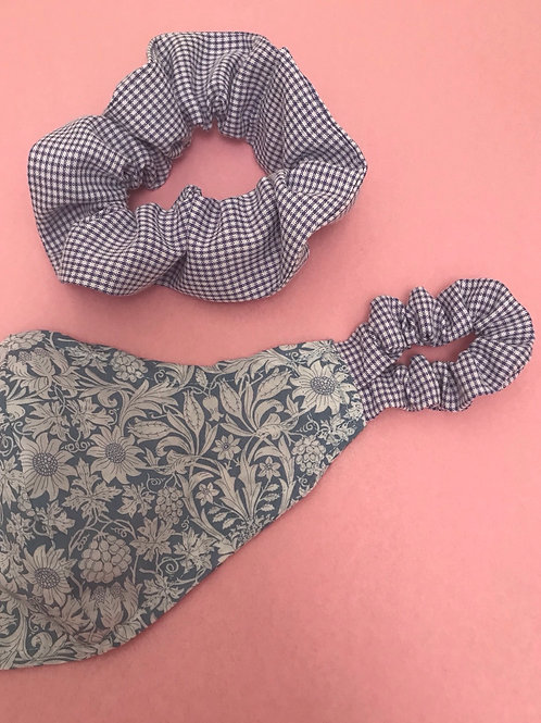 Handmade Mask & Scrunchie in Pale Blue Liberty and Lilac Gingham