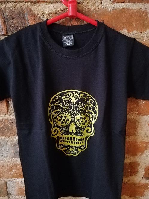 Tuta Shirts Kids Caveira Mexicana Ouro