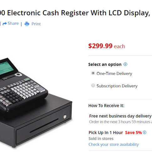 This shows the current price of the cash register at Office Depot.