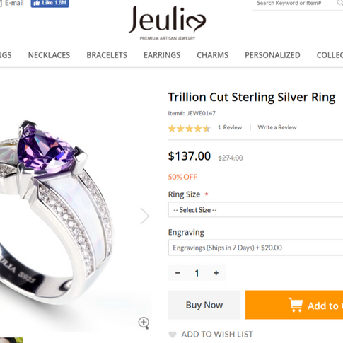 This shows the current price of the ring at Jeulia.