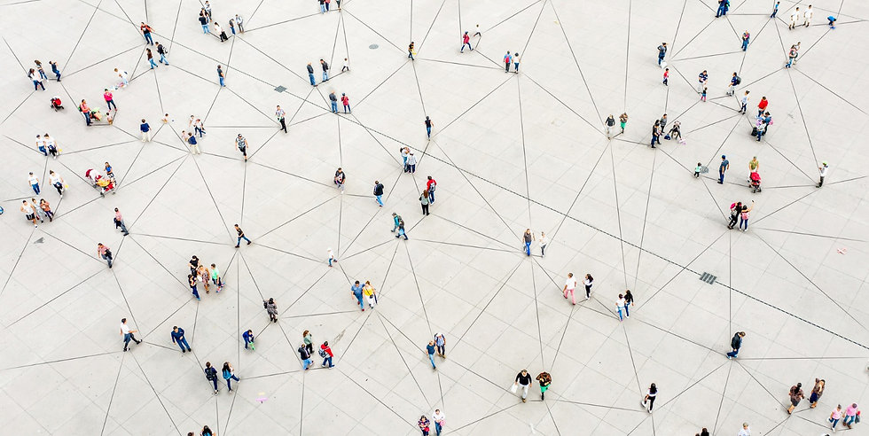 aerial-view-of-crowd-connected-by-lines-