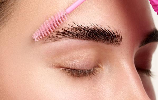 Eyebrows Care. Closeup Of Woman Beautifu