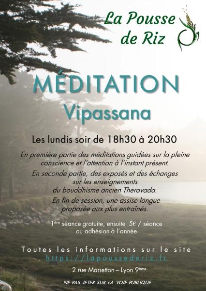 Flyer La Pousse de Riz 2018_2019 - Méditation Vipassana Lyon