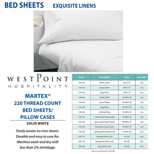 martex 220 thread count solid white full xl fitted - Full Xl Sheets