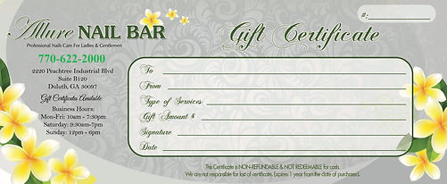 Allure Nail Bar Duluth Gift Certificate