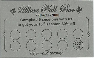 Allure Nail Bar Duluth Loyalty Card