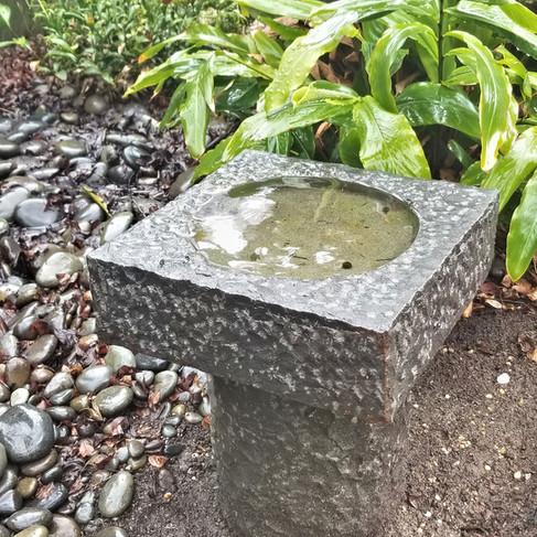 Chiseled Basalt Birdbath
