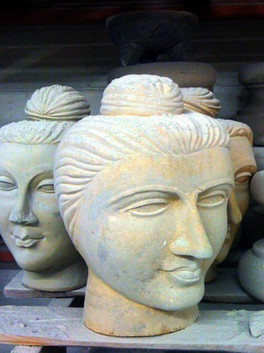 Sculpted Stone Buddha Heads