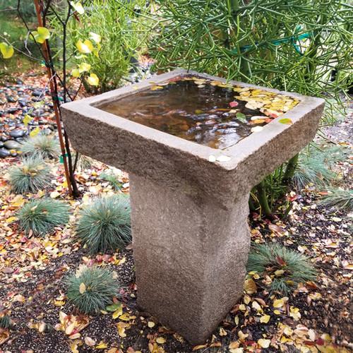 Square Limestone Birdbath