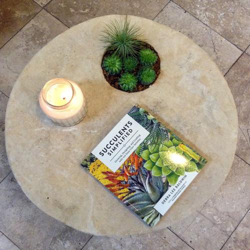 Stone Wheel Table w/ Planter