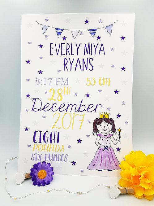 Princess Baby/Child Keepsake Print