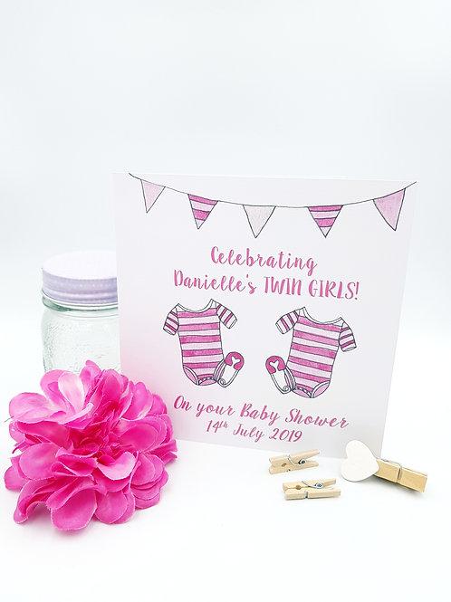 Baby Shower Card (Twin Girls)