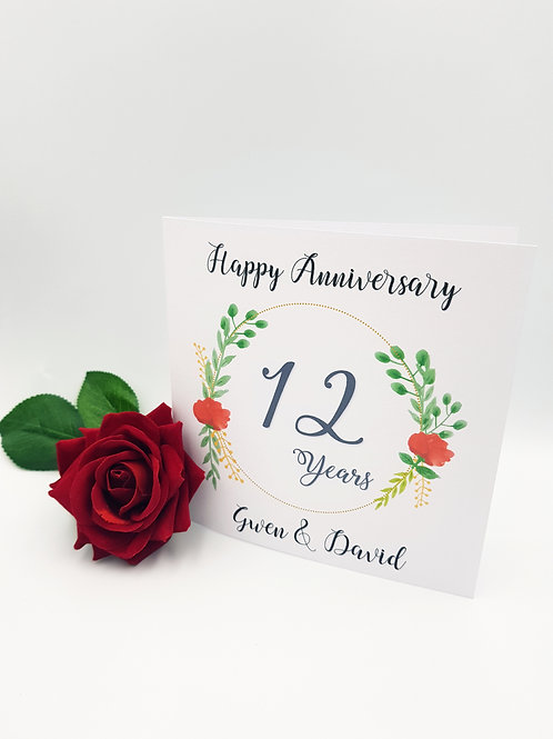 Flower Wreath Anniversary Card
