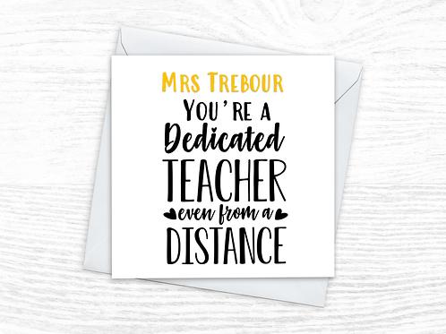 Personalised Dedicated Teacher Card