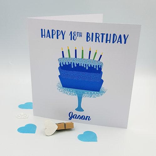 Birthday Cake Card - Blue