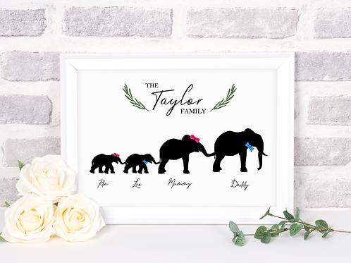 Elephant Family Print