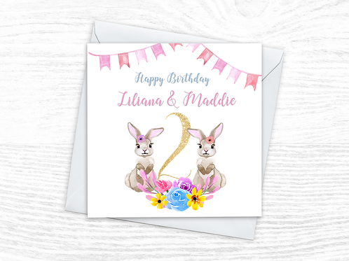 Twin Girls Bunny Card