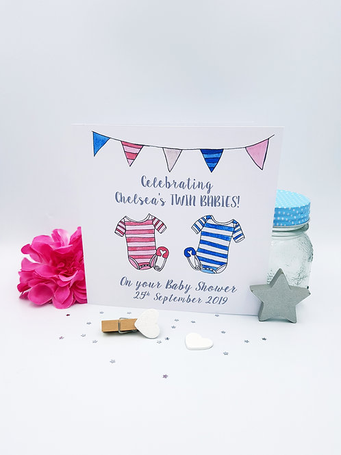 Pink & Blue Baby Shower Card