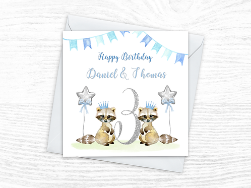 Twin Boys Birthday Card