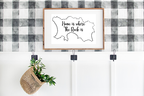 Jersey Print - 'Home is where The Rock is' Print