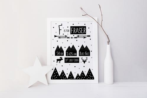 Mountains and Arrows Birth Keepsake Print