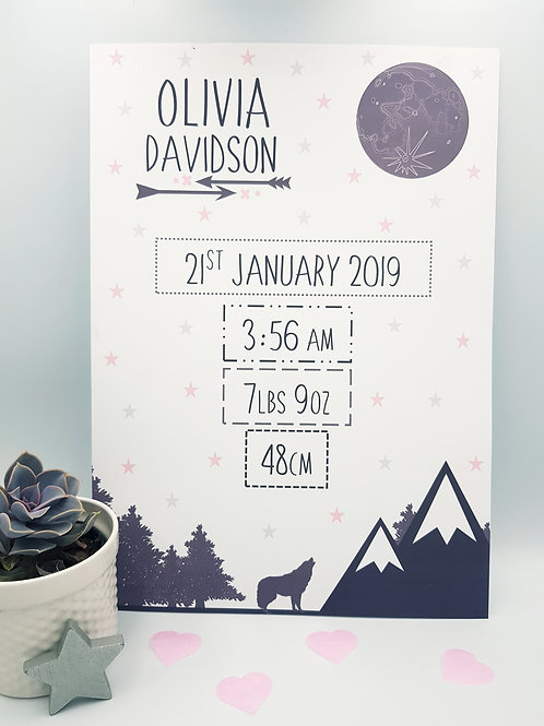 Wolf and Moon Birth Keepsake Print (Grey and Pink)