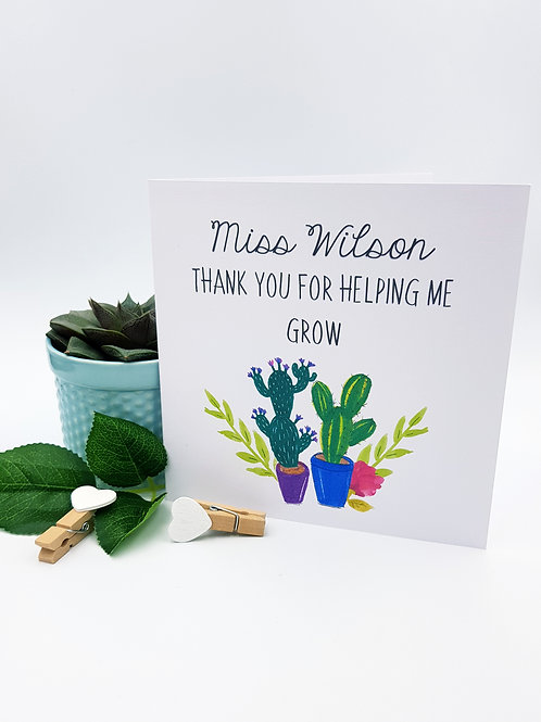 Cactus - Teachers Card