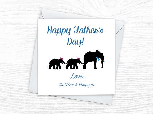 Fathers Day Card - Elephants