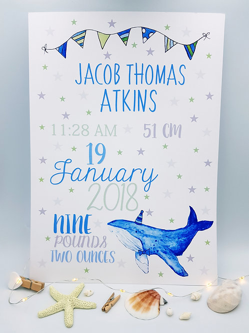 Baby/Child Keepsake Print (Party Whale)